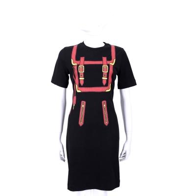 LOVE MOSCHINO 黑色釦帶圖印短袖洋裝