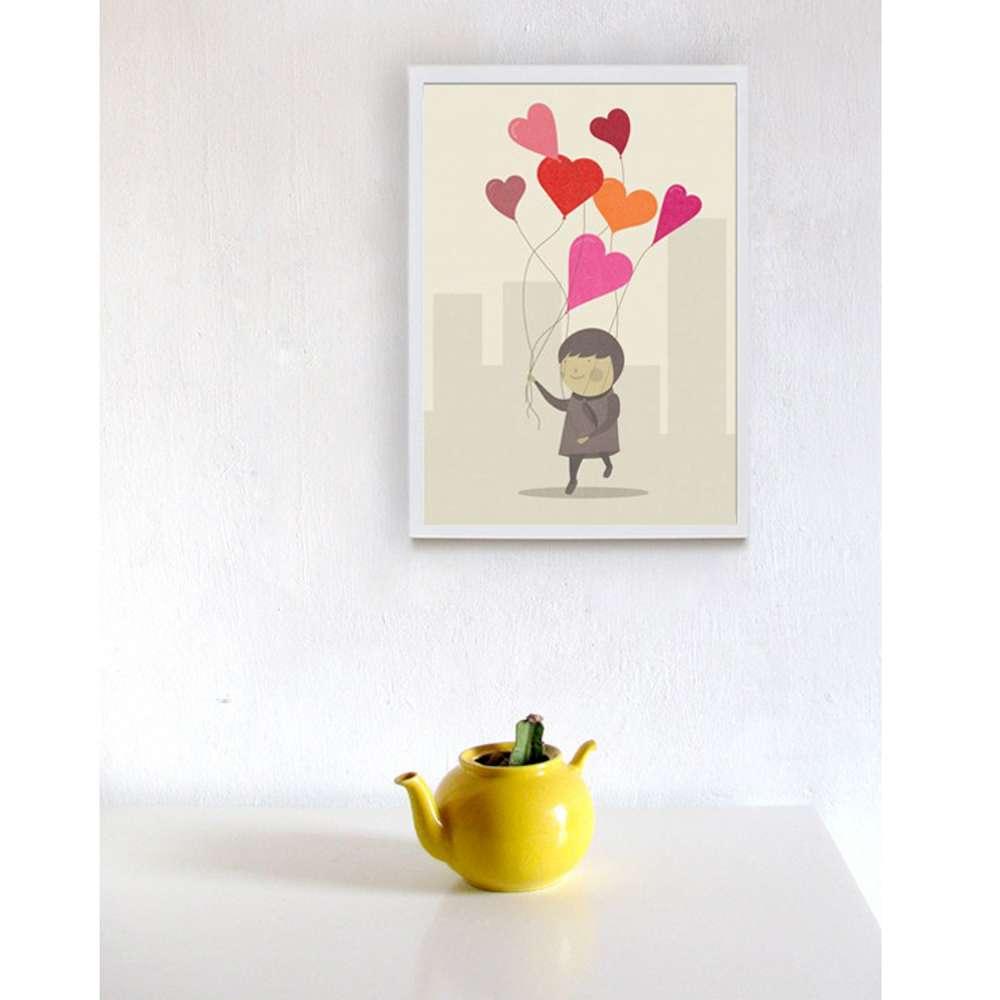 西班牙插畫家Judy Kaufmann藝術版畫-愛的氣球(掛畫附簽名/含木框)