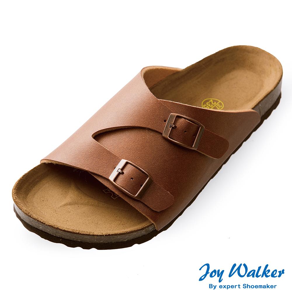 Joy Walker 素面休閒寬版拖鞋*駝色