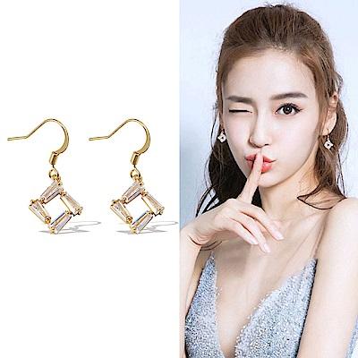 梨花HaNA 韓國925銀法式美妍金色水晶耳環