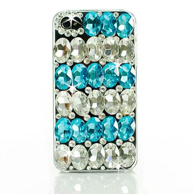 AimeeToff iPhone 4/4S立體雙色水晶水鑽保護殼-藍(透明)