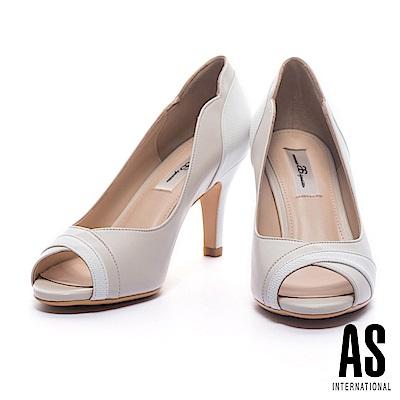 高跟鞋 AS 高雅氣質異材質拼接羊皮魚口高跟鞋-米