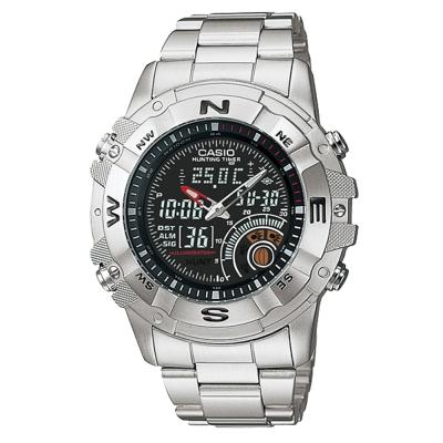CASIO 全方位競速雙顯鋼帶錶(AMW-705D-1A)-黑/44mm