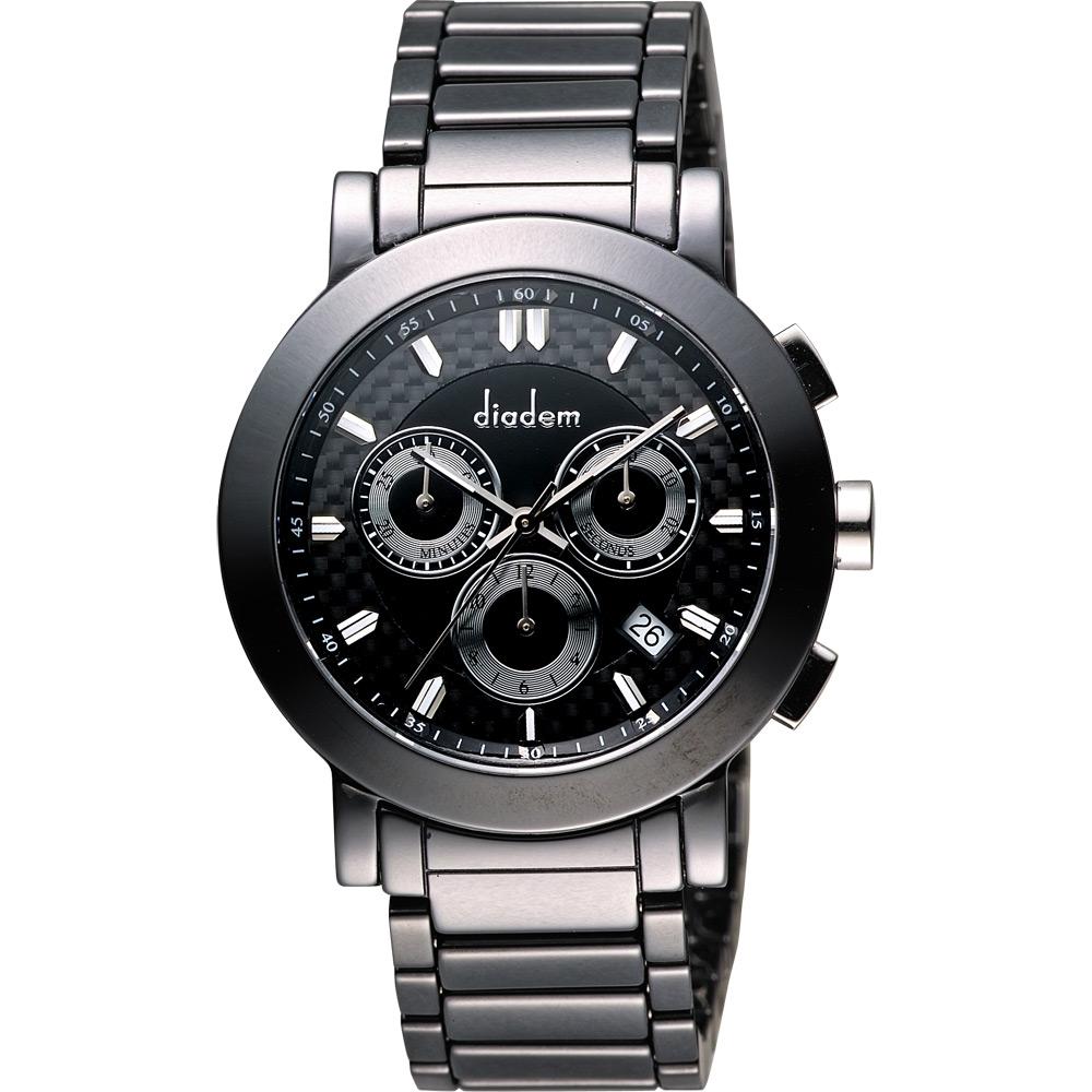 Diadem 黛亞登 都會三眼計時陶瓷腕錶-黑/41mm