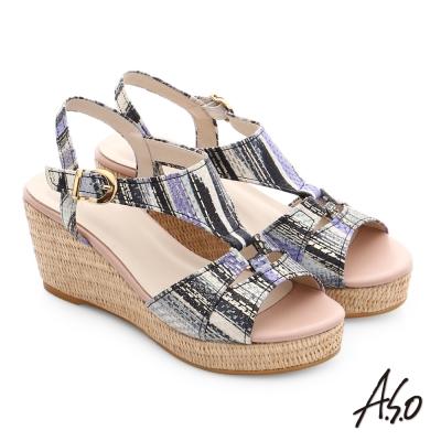 A.S.O 嬉皮假期 真皮獨特紋路楔型涼鞋 黑色