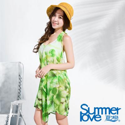 夏之戀SUMMERLOVE 比基尼泳裝 外搭雪紡紗裙 三件式 綠色花朵