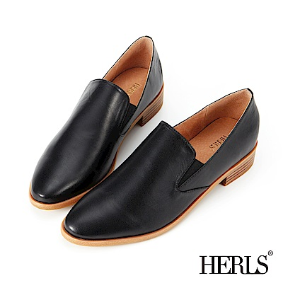 HERLS 品味生活 全真皮素面橢圓頭樂福鞋-黑色