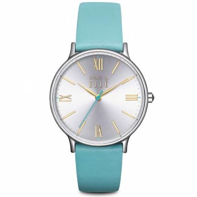 ELLE 率性羅馬皮革時尚腕錶-銀x綠/ 33 mm