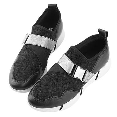 Robinlo&Co. 金屬太空感真皮襪子運動鞋 黑