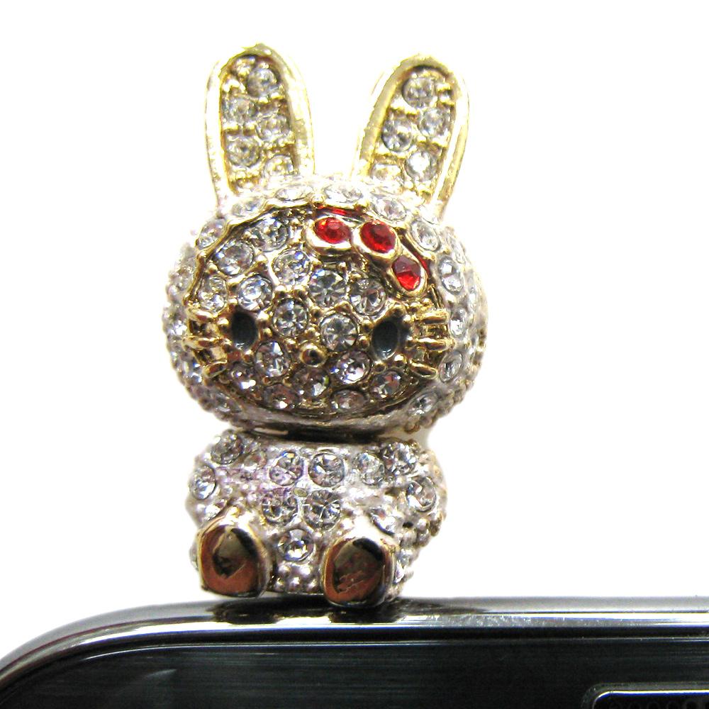 HELLO KITTY水鑽兔3.5mm耳機孔通用型防塵塞 防潮塞 KT