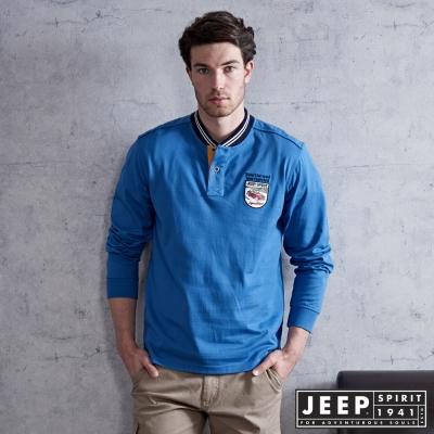 JEEP 時尚經典棒球領POLO衫-黎明藍