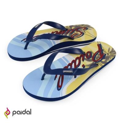 Paidal 男款夏日足弓夾腳拖人字拖鞋-藍