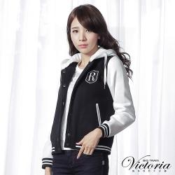 Victoria 可拆帽袖撞色休閒厚絨外套-女-黑白
