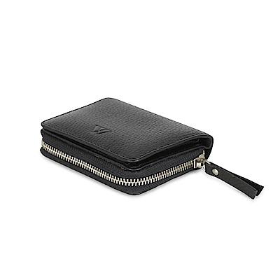 MARKBERG Delta 丹麥手工牛皮簡約側翻雙層短夾 錢包(極簡黑)