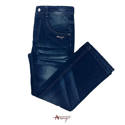 Anny素面百搭安妮水鑽造型刷色牛仔長褲*0423藍