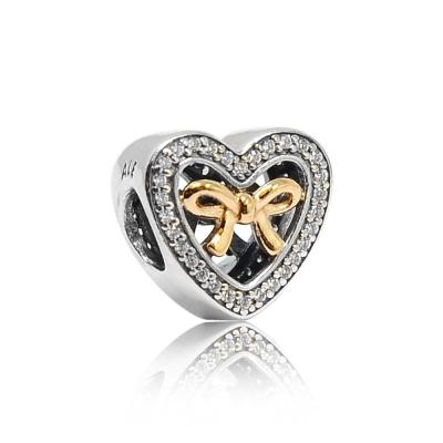 Pandora 潘朵拉 鑲鋯心形鏤空14k金蝴蝶結 純銀墜飾 串珠