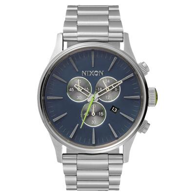 NIXON The SENTRY CHRONO 藍調搖滾潮流運動腕錶-灰藍x銀/42mm