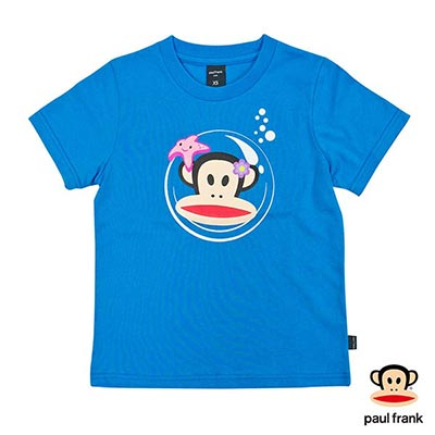 Paul Frank-泡泡罩Julius印花短袖T恤-藍(童)