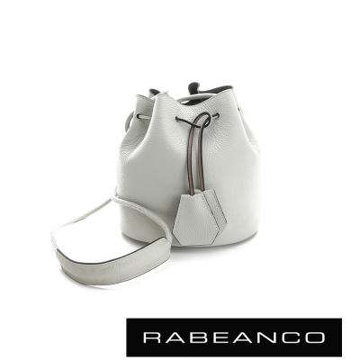 RABEANCO-真皮荔枝紋經典束口水桶包-白