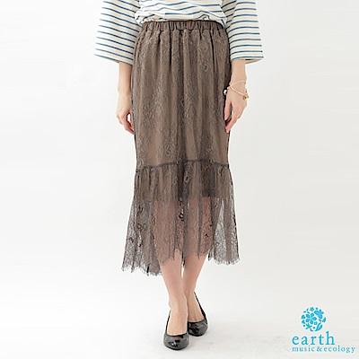 earth music 氣質鬆緊腰蕾絲長裙