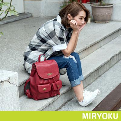 MIRYOKU-清新簡約系列-轉釦多口袋後揹包-紅