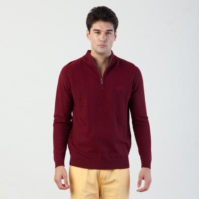 歐洲貴族oillio-立領羊毛衫-細膩壓紋-男裝美學-紅色
