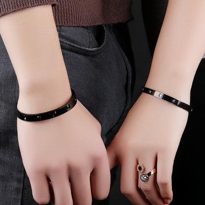 ACUBY-鋼製點點繁星簡約手環-黑色男款