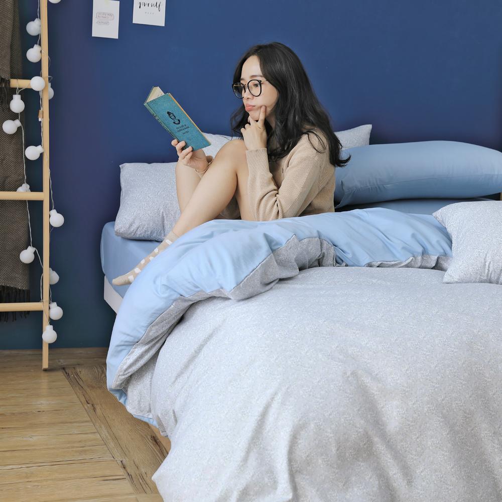 GOODDAY-悄悄話(藍)-纖絨棉-防蹣薄被套床包組(特大)
