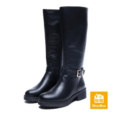 鞋櫃ShoeBox-長靴-方釦尖頭厚底粗跟長靴-黑