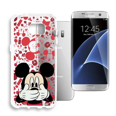 迪士尼 Samsung Galaxy S7 edge 大頭透明手機軟殼(摀嘴米奇...