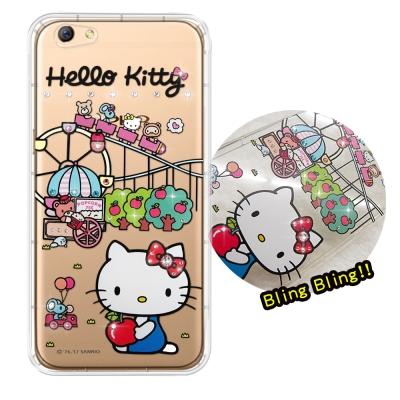 正版凱蒂貓 OPPO R9s 5.5吋 夢幻童話 彩鑽氣墊手機殼(遊樂園)