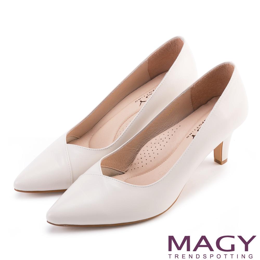 MAGY 簡約OL通勤款 大女人素雅羊皮尖頭高跟鞋-白色