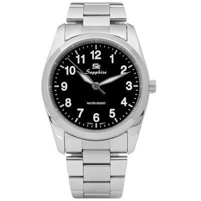 Sapphire 簡潔大方夜光藍寶石水晶不鏽鋼手錶-黑色/35mm