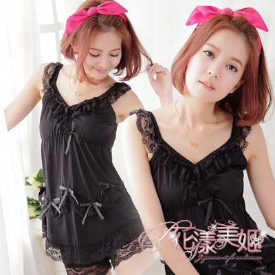 花漾美姬 清新印象 荷葉線條柔滑牛奶絲睡衣褲組(黑)