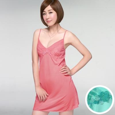 推Audrey-輕透V弧蝶 居家型細帶洋裝(薄荷綠)