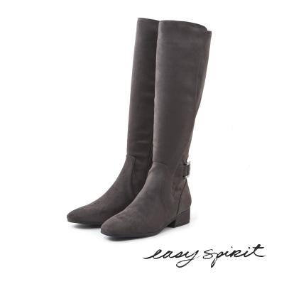 Easy Spirit--異材質拼接平底長靴-俐落灰