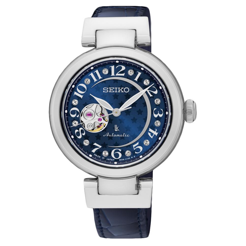 SEIKO精工 LUKIA 星月鏤空機械女錶(SSA823J1)-藍/34mm