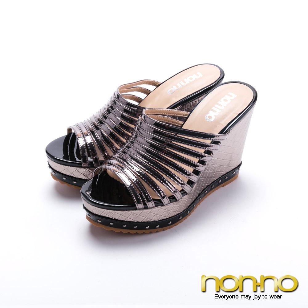 nonno羅馬經典曲線楔型高跟涼拖鞋-灰