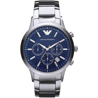 ARMANI 亞曼尼經典質感三眼計時手錶-藍X銀/43mm