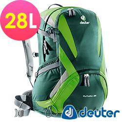 【ATUNAS 歐都納】德國原廠deuter28L網架直立式透氣背包 34214 綠/深綠