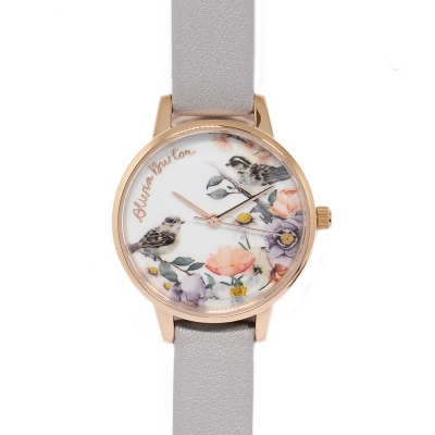 Olivia Burton 英倫復古手錶 小鳥花園丁香紫真皮錶帶玫瑰金框-30mm