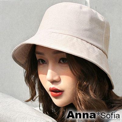 AnnaSofia 古著單色圈線 遮陽防曬漁夫帽盆帽(麻本色系)