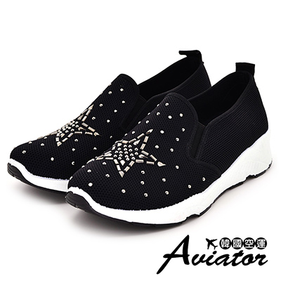 Aviator韓國空運-質感星星燙銀造型輕量鬆緊懶人鞋-黑