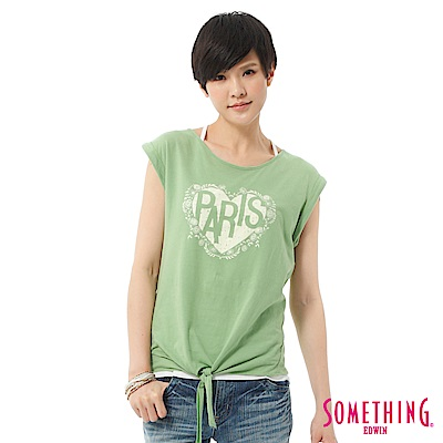 SOMETHING T恤 活力女孩愛心綁結寬T-女-蘋果綠