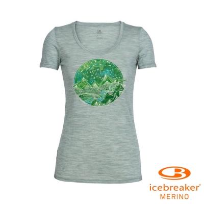 【Icebreaker】女 美麗諾羊毛 Tech U領短袖休閒上衣_葉岩綠