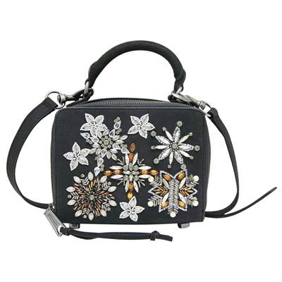 REBECCA MINKOFF 復古珠飾貼花磨砂牛皮手提/斜背包-黑色