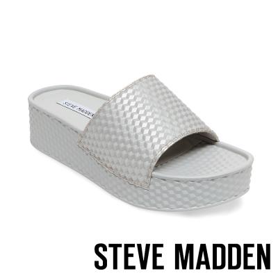 STEVE MADDEN-SHARPIE-SILVER 幾何紋厚底一字拖-銀灰色