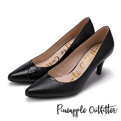Pineapple Outfitter 優雅名伶 質感真皮拼接尖頭高跟鞋-黑色