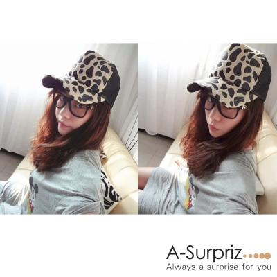 A-Surpriz 前衛豹紋皮草棒球帽(米底)