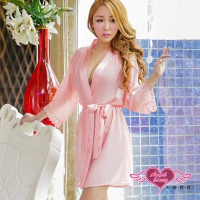 罩衫 柔粉誘惑 柔紗性感外罩式連身睡衣(粉桔F) AngelHoney天使霓裳